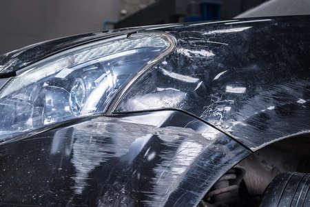 auto repair: Auto body repair series : Black car scratch