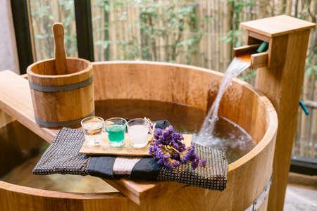 Onsen series : Blue yukata on wooden bathtub Фото со стока - 54973250