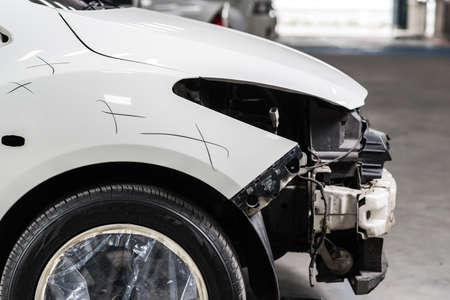 auto repair: Auto body repair series : White car without headlight