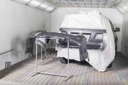 repaint: Auto body repair : Masking before repaint Stock Photo