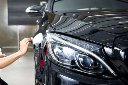 clean car: Car polishing series : Glass coating Stock Photo
