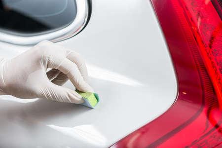service occupation: Car polishing series : Glass coating Stock Photo