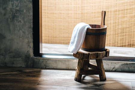 onsen: Onsen series : Wooden bucket Stock Photo