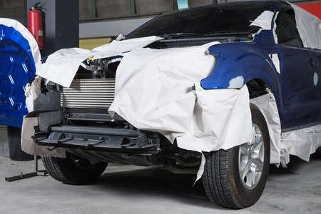 auto repair: Auto body repair series : Masked truck before repaint Stock Photo
