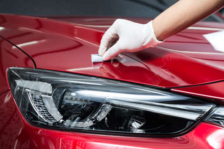 car service: Car polishing series : Glass coating Stock Photo