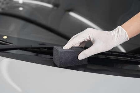 detailing: Car detailing series : Polishing plastic parts Stock Photo