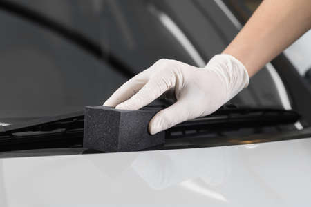 detailing: Car detailing series : Polishing plastic parts Stock Photo