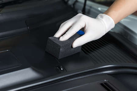 Car detailing series : Polishing plastic parts Stock Photo