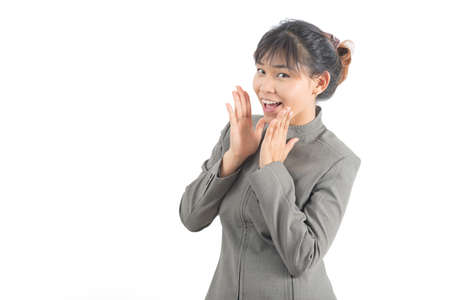 out of office: Asian office worker series : Shout out Stock Photo