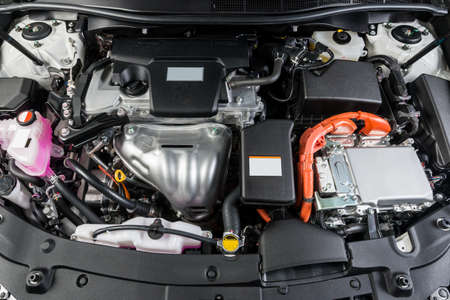 hybrid car: Car detailing series : Closeup of clean hybrid car engine Stock Photo