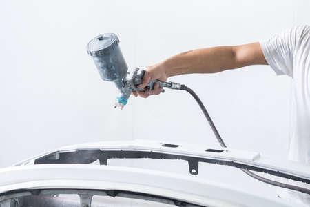 repaint: Auto body repair series : Painting car bumper in paint booth