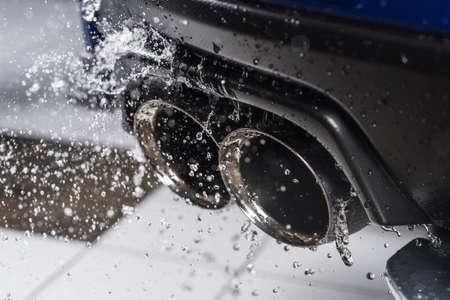 detailing: Car detailing series : Water splashing on car muffler
