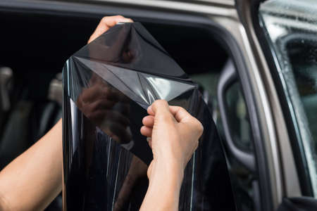 Car window tinting series : Peeling window film Stock Photo