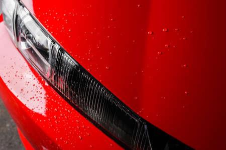 Car detailing series : Wet red car Stock Photo