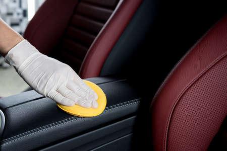 자동차 자세히 시리즈 : 자동차 내부 청소 스톡 콘텐츠
