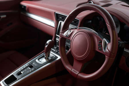 Car detailing series: Clean interior, red leather Stock Photo