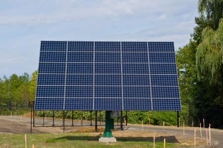 power: Solar panels mounted on rooftop and tracking mounts
