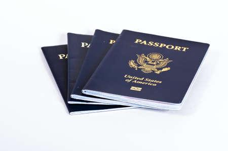 US PAssports isolated on white