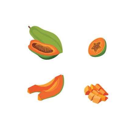 Set of papaya fruit