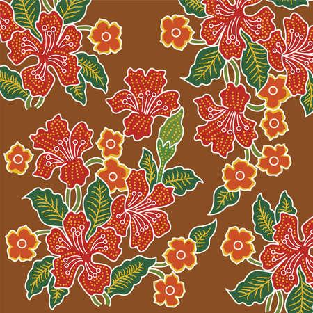 Colorful batik cloth fabric Brown background.