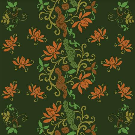 wallpaper green old vintage flower 向量圖像