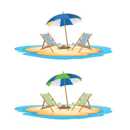 해변 의자 여름 벡터