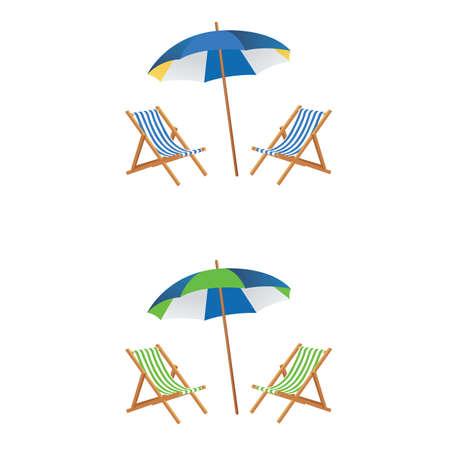 beatitude: Beach chair with umberlla vector