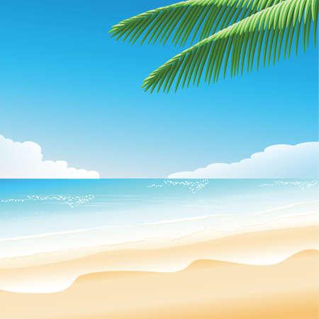 코코넛 나무와 아름다운 푸른 바다 일러스트
