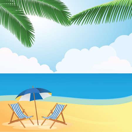 아름다운 여름 해변 일러스트