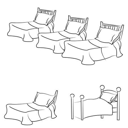 The bed with a pillow and blanket