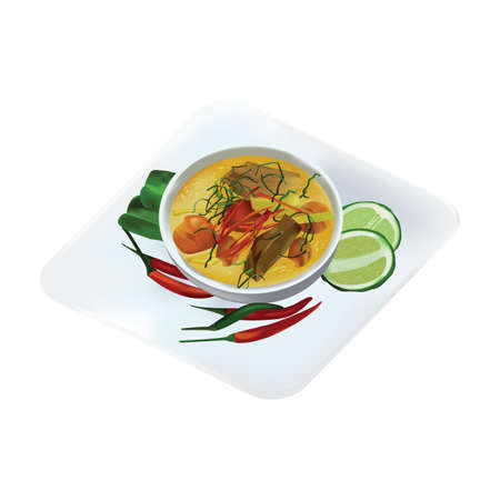 a Thai red curry with roast duck 向量圖像