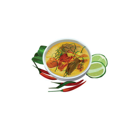 Kaeng Phet Pet Yang (Thai for Red Curry with Roast Duck) 向量圖像