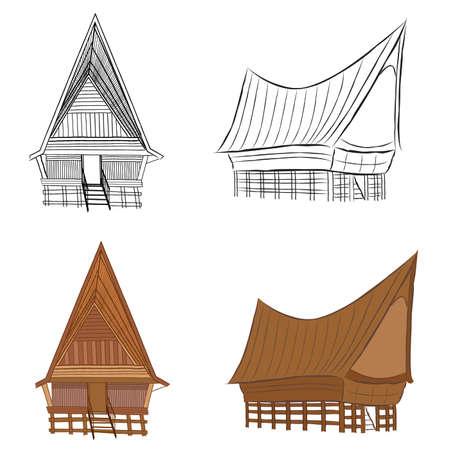 hut wood 向量圖像