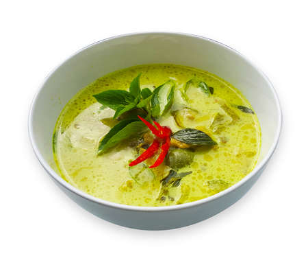 Green Curry with pork isolated on white background 版權商用圖片