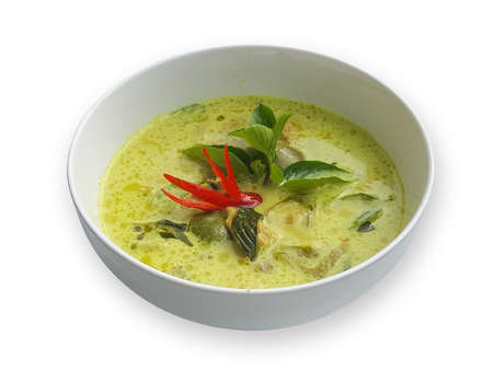 Green Curry with pork on white background
