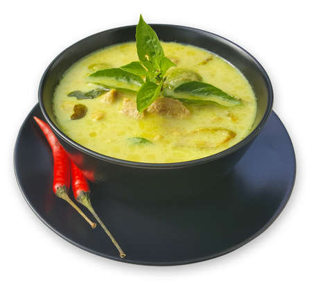 Green Curry, Thai cuisine with black bowl