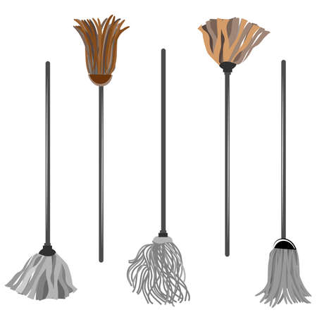Broom vector illustration isolated on white background.