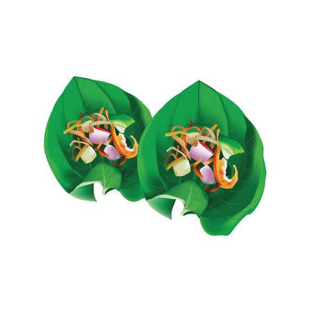 Leaf-Wrapped Bite-Size Appetizer (Miang Kham) 向量圖像