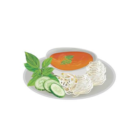 Nouilles au curry de poisson, cuisine thaïlandaise (Kanom Jeen Nam Ya)
