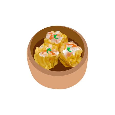pork Shumai dumplings Dim sum 向量圖像