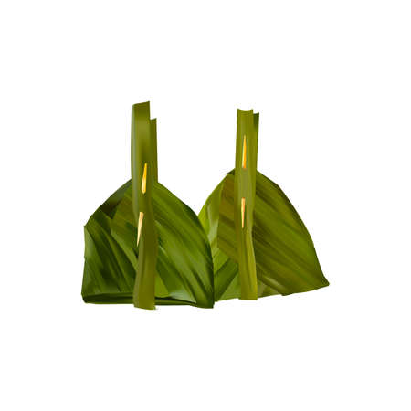 steamed fish with curry paste in banana leaves wrap Illustration