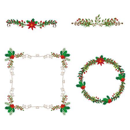 Christmas festive poinsettia frame