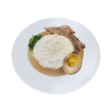 Stewed pork leg with rice and vegetable 向量圖像