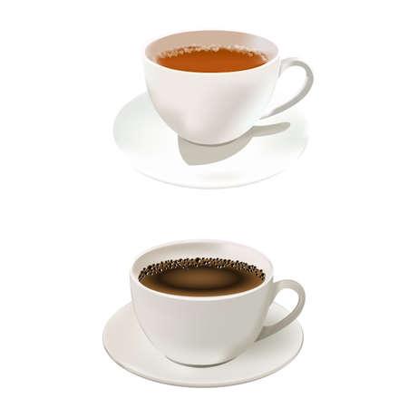 Une tasse de café et de thé chaud