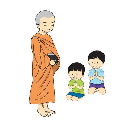 vecteur de dessin de bande dessinée de moine bouddhiste