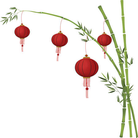 Chinese Red Paper Lanterns 向量圖像