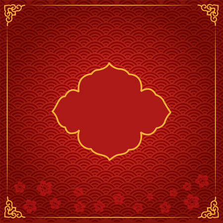 Chinese new year traditional template with red