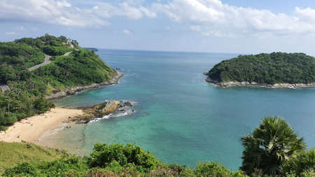 Panoramic view of Yanui Beach at Phuket in Thailand 版權商用圖片