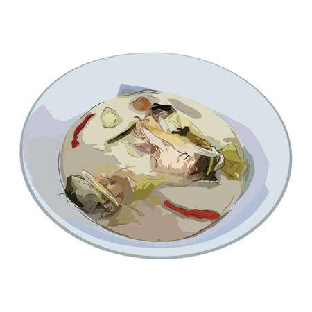 Thai coconut milk soup with chicken Thai food (Tom Kha Kai)