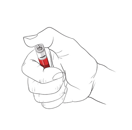 hand holding lighter Illustration